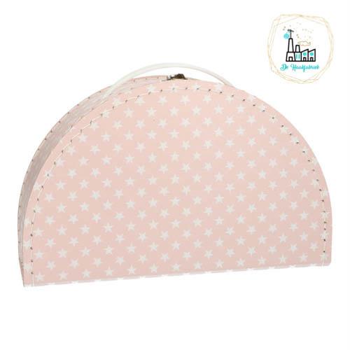 Kinderkoffertje Half Rond Roze met sterretjes 28 cm