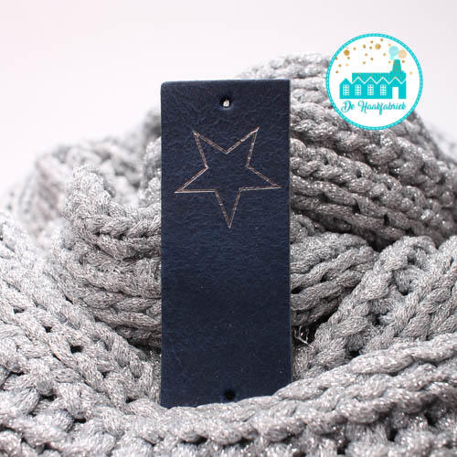 Big Labels Donker Blauw 8 cm x 3 cm Zilveren Ster