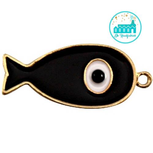 Vis bedel met 1 oogje 44 mm x 20 mm zwart goud