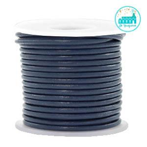 Round Leather String 2 mm Dark Blue