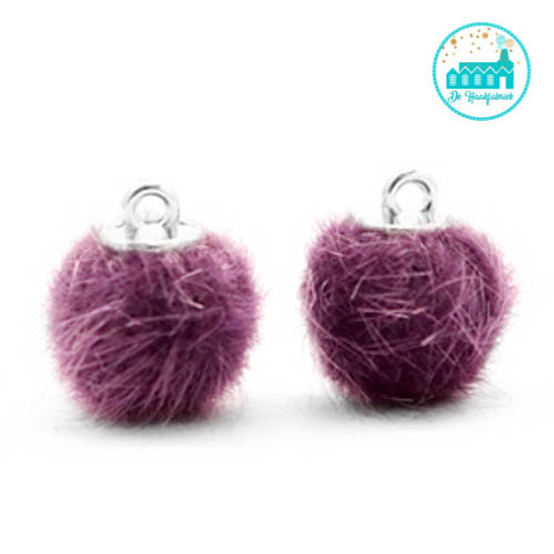 Mini Pompons Faux Fur 12 mm Violet Paars