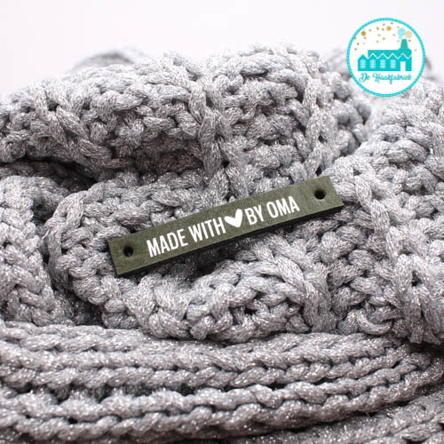 Leren Label Made With Love by Oma Olijf zilveren letter