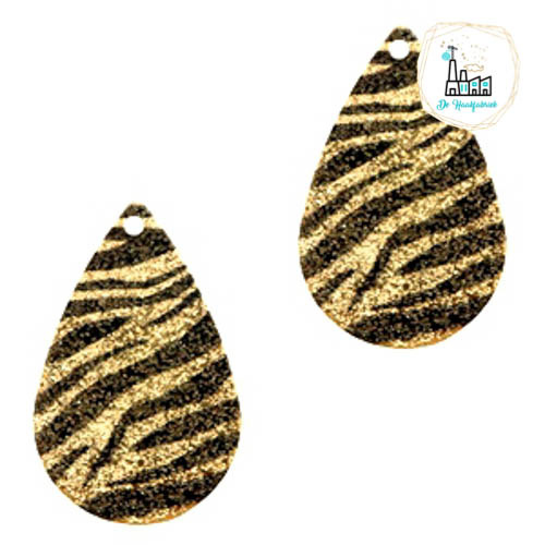 Metalen bedel druppel 1 oog zebra Black-gold