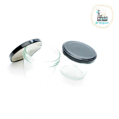 Glazen Potjes met Zwarte Deksel 230ML