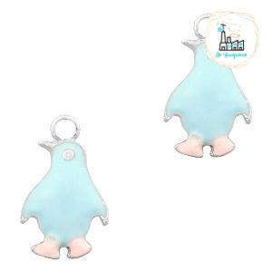 bedels pinguïn Zilver-Light blue pink 23 x 14 MM