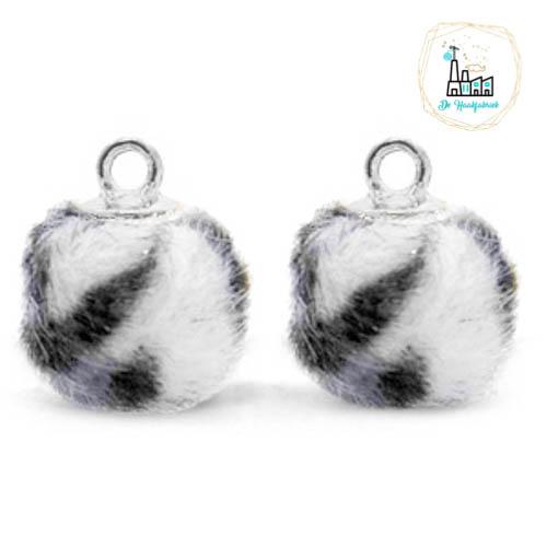 Pompom bedels met oog faux fur leopard 12mm Off white-silver