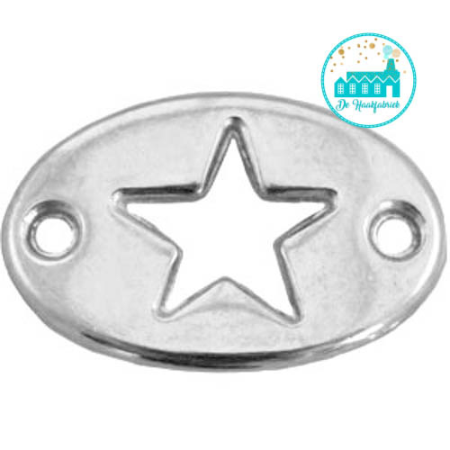 Silver Metal Label with Star 20 mm x 13 mm