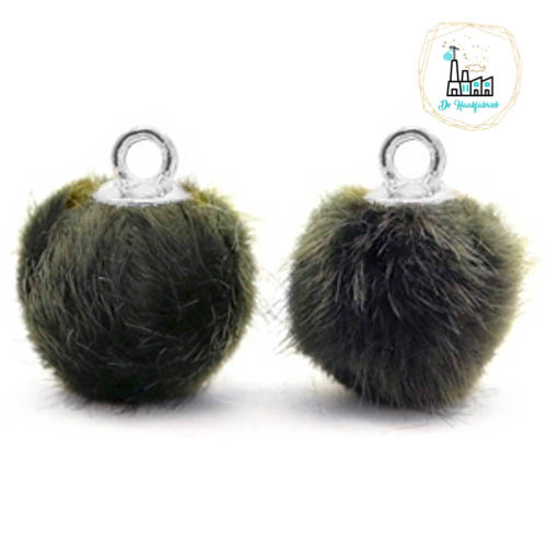 Pompom bedels met oog faux fur 12mm Olive grey-silver