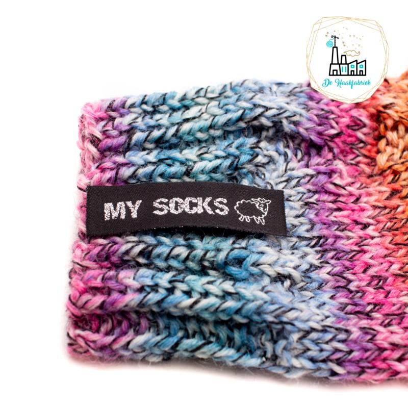 Sokken Labels  MY SOCKS ZWART/ ZILVER
