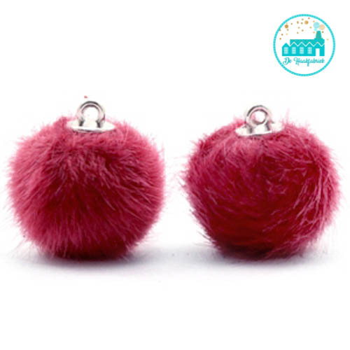 Mini Pompons Faux Fur 16 mm Kersen Roze