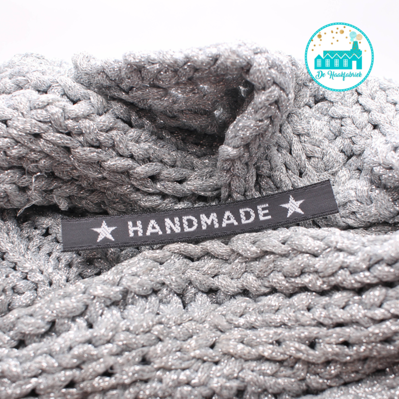 Ironing label 'Handmade with Star' grey with white