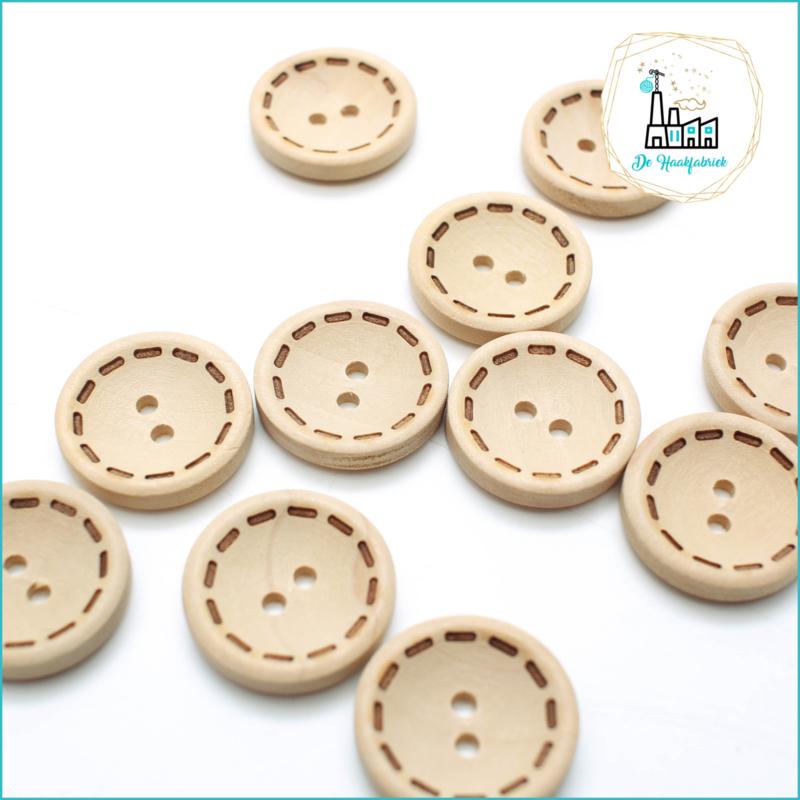 Wooden Button 20 mm 'Stitching'