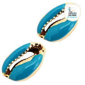 Schelp kralen specials Kauri Half mosaic blue-gold