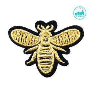 Patch Bee Gold 4 cm x 5 cm