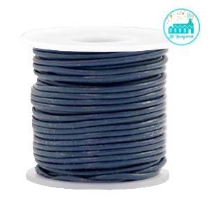 Round Leather String 1 mm Dark Blue