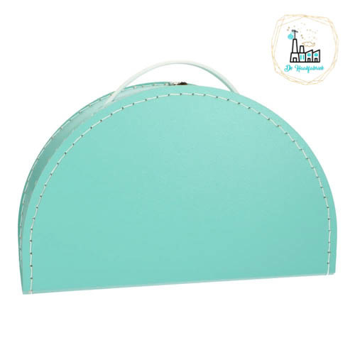 Kinderkoffertje Half Rond Turquoise 28 cm