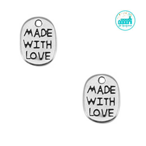 Metal Label 'Made with love' 11mm x 8mm