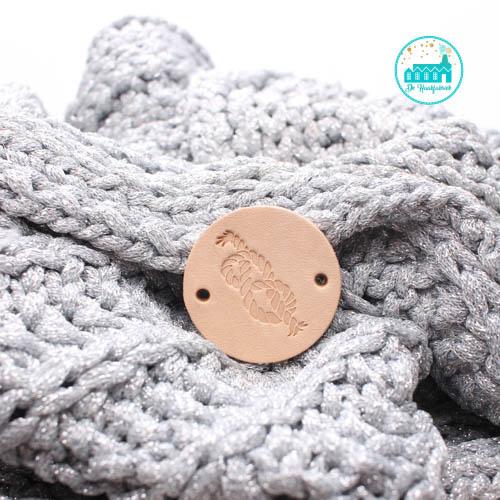 Ronde Leren label 3,5 cm Knoop Touw
