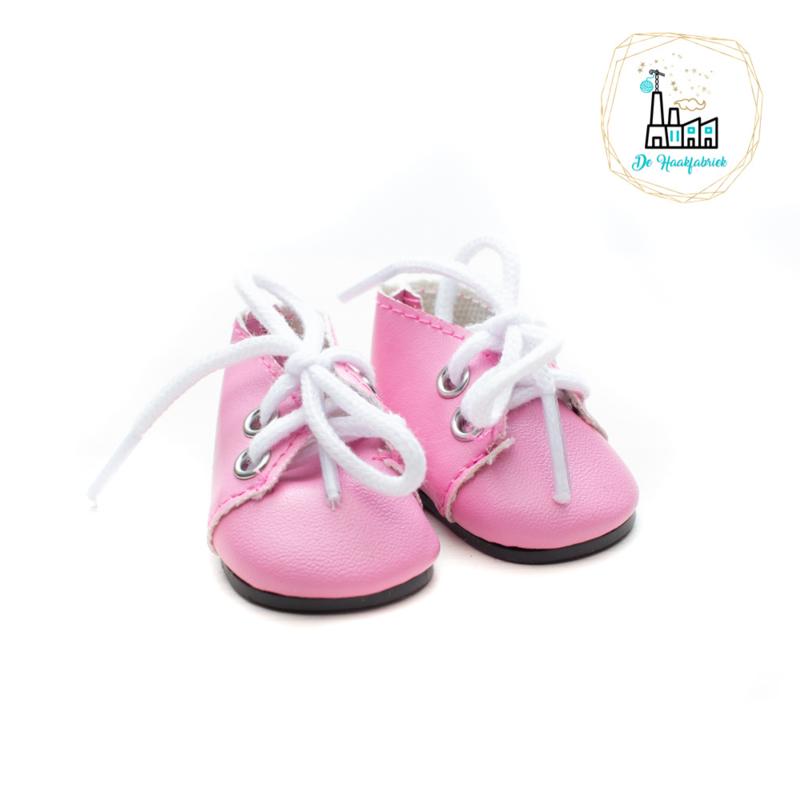 Schoentjes voor Amigurumi Poppetjes Roze met Veter