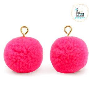 Pompom bedels met oog 15mm Hot neon pink-gold