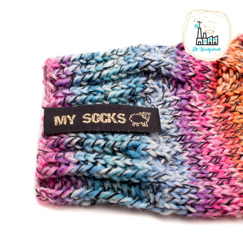 Sokken Labels  MY SOCKS ZWART/ GOUD