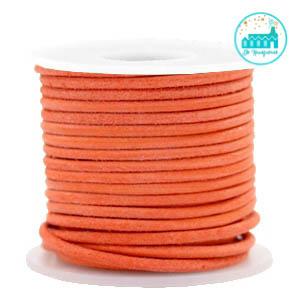 Leren Koord rond Oranje  2 mm