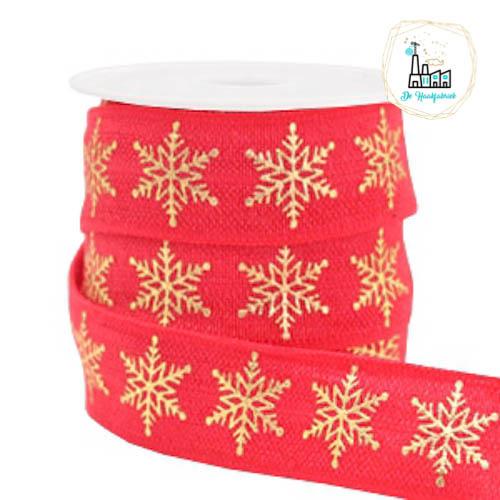 Elastisch lint snowflake Red