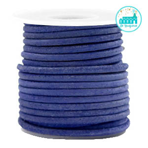 Round Leather String 3 mm Cobalt