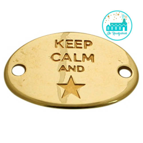 Gold Metal Label 'Keep Calm and star' 29 mm x 20 mm