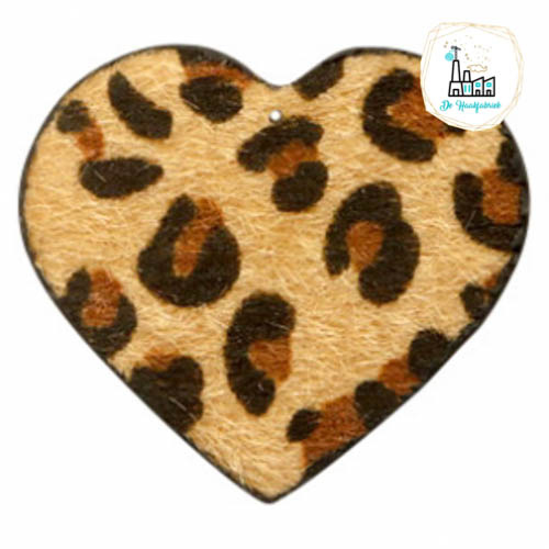 Hairy imi leer hangers hart met leopardprint Camel Brown 56x50mm