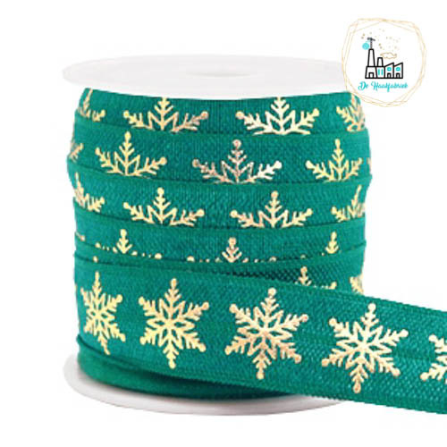 Elastisch lint snowflake Petrol green