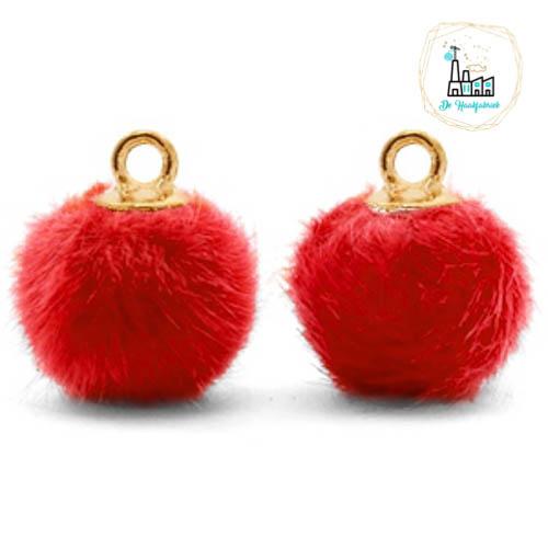 Pompom bedels met oog faux fur 12mm Siam red-gold