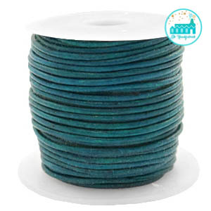 Round Leather String 1 mm Dark Turquoise