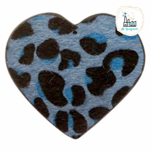Hairy imi leer hangers hart met leopardprint Blue 56x50mm