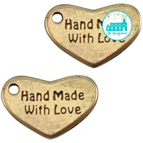 Bronze Heart Metal Label 'Handmade With Love' 12MM