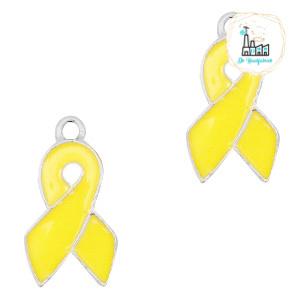 Metalen bedels ribbon Zilver-Yellow 18 x 9 mm