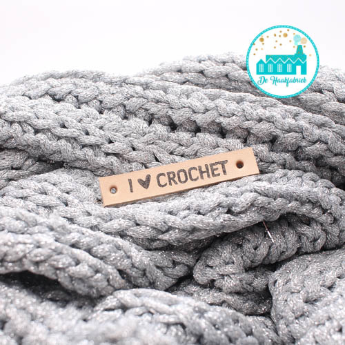 Leren Label I Love Crochet vet Bedrukt