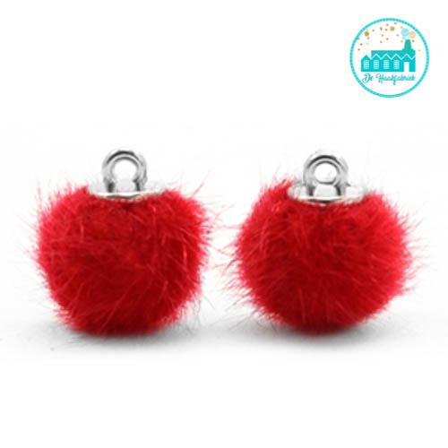 Mini Pompons Faux Fur 12 mm Red