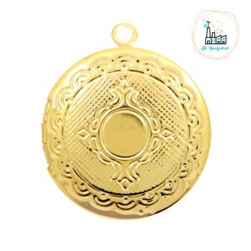 Metalen bedel medaillon rond Goudkleurig ca. 22x20mm