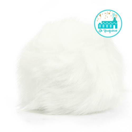 Pompon artificial fur 8 cm White