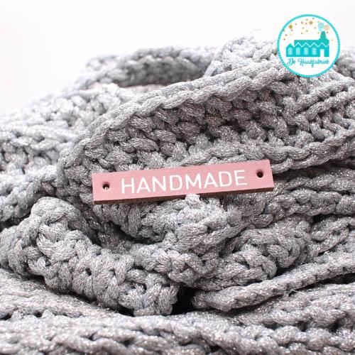 Roze leren label letters zilver HANDMADE