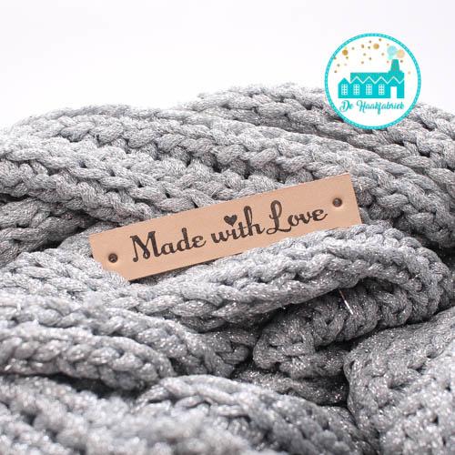 Made With Love label met hartje  Leren Label 1,5 cm breed Bedrukt