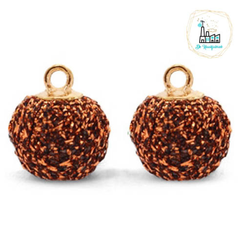 POMPOM BEDELS GLITTER COPPER GOLD 12MM