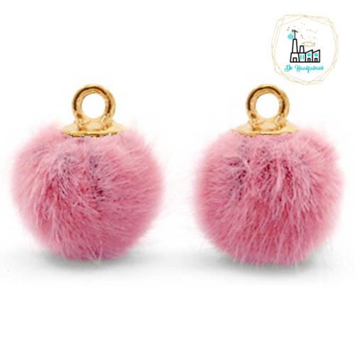 Pompom bedels met oog faux fur 12mm Vintage dark pink-gold