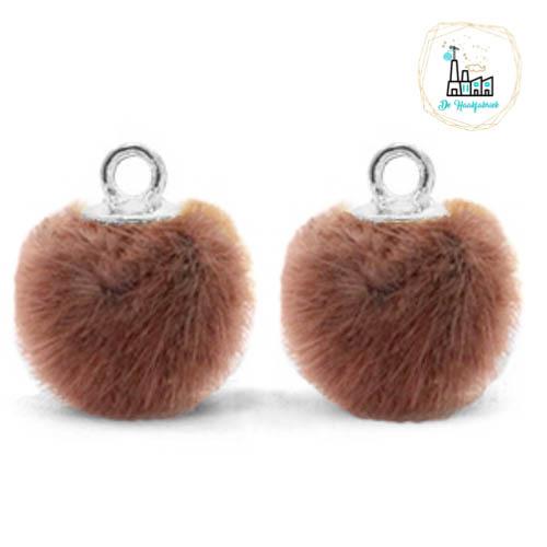 Pompom bedels met oog faux fur 12mm Red brown-silver