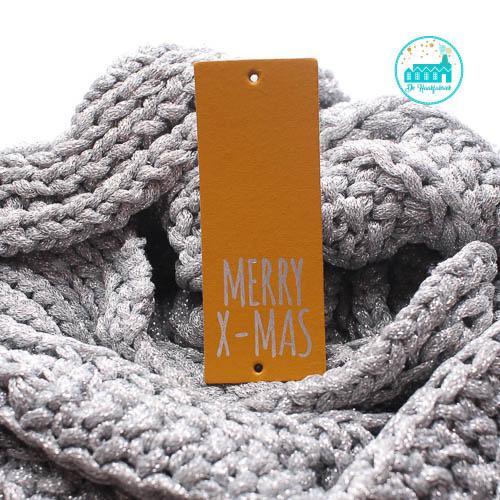 Big Labels  8 cm x 3 cm Oker Merry X-Mas zilver