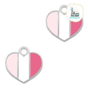 bedels hart Zilver-Fuchsia white pink 12 x12  MM