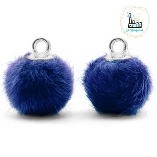 Pompom bedels met oog faux fur 12mm Denim blue-silver
