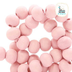 Houten kralen rond 12 mm Light coral pink Ø 2mm