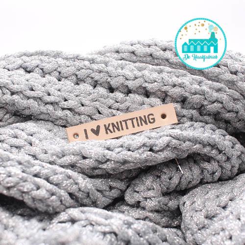 Leren Label I Love Knitting Bedrukt
